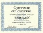 Summit for Student Success Certificate